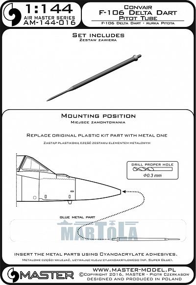 F-106 DELTA DART METAL PITOT TUBE #144-016 1//144 MASTER
